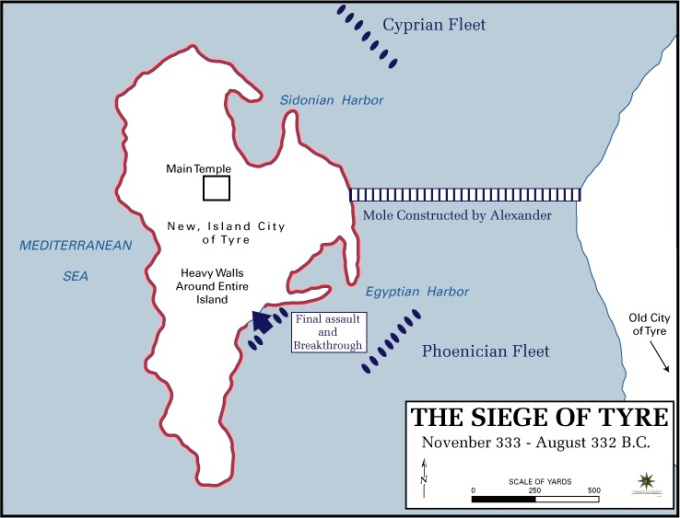 The siege of Tyre by Alexander the Great.