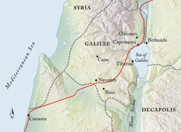 "The ""Via Maris"" (Red) ran from Egypt to Damascus, passing through Capernaum"